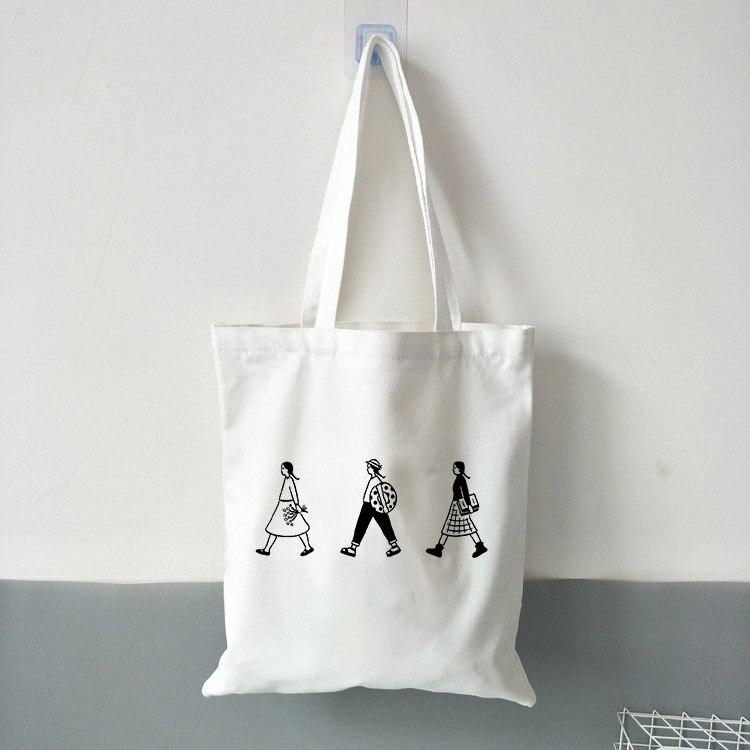 Women Canvas Tote Shopper Bag Cartoon Girls Print Shoulder Handbag Sling Bag
