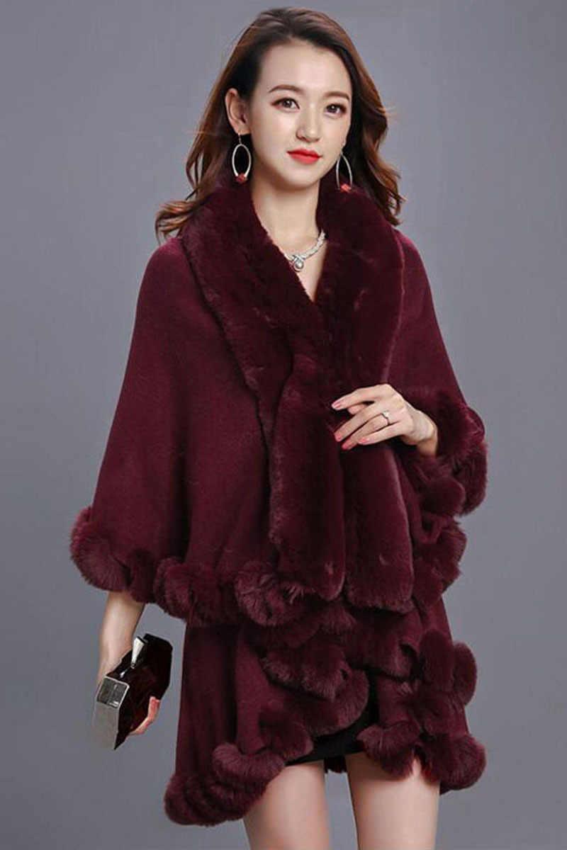 Herbst Frauen faul kaninchen pelz kragen mantel schal weibliche mantel mantel poncho winter Frauen einfarbig Mode rot schwarz schal frauen