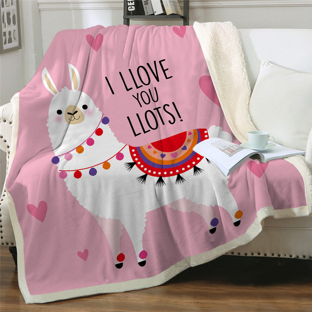 Happy Llamas in the Desert Sherpa Fleece Throw Blanket