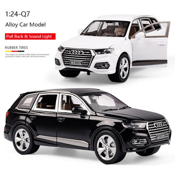 1:24 Diecast Metal Toy Vehicles Alloy Pull Back Car Model Simulation Q7 Sound Light Car Doors Open Kids Car Birthday Gifts Toys 1 36 benz e63 amg alloy pull back car model diecast metal toy vehicles 2 open doors for kids gift free shipping