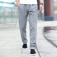 Thin Section Fat Man Male Elastic Sports Pants Plus Fat plus Size Loose Cotton Leisure Pants Fat Pants Elastic Force