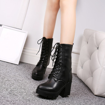 High Heels Chunky Boots Lace Up Black Gothic Punk Shoes Platform Autumn Winter Goth Ankle Motorcycle Boots Black 2019