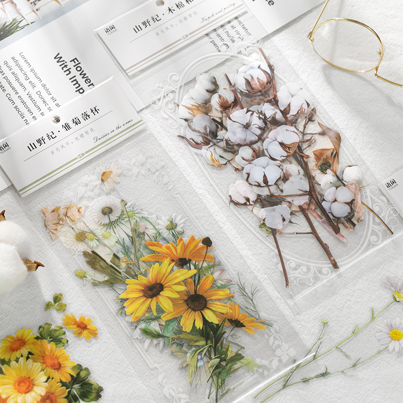 11 Sheets/pack Fresh Floral PPET Transparent Decorative Stickers Flowers Plant Series Decals For Diy