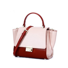 Luxury Ladies Handbag Women Tote Bag Designer Trapeze Bag Contrast Color Leather Crossbody Bags For Women Fashion Shoulder Bag qiwang women design bag brand designer luxury women fashion handbag bags fashion luxury ol tote bag for office women