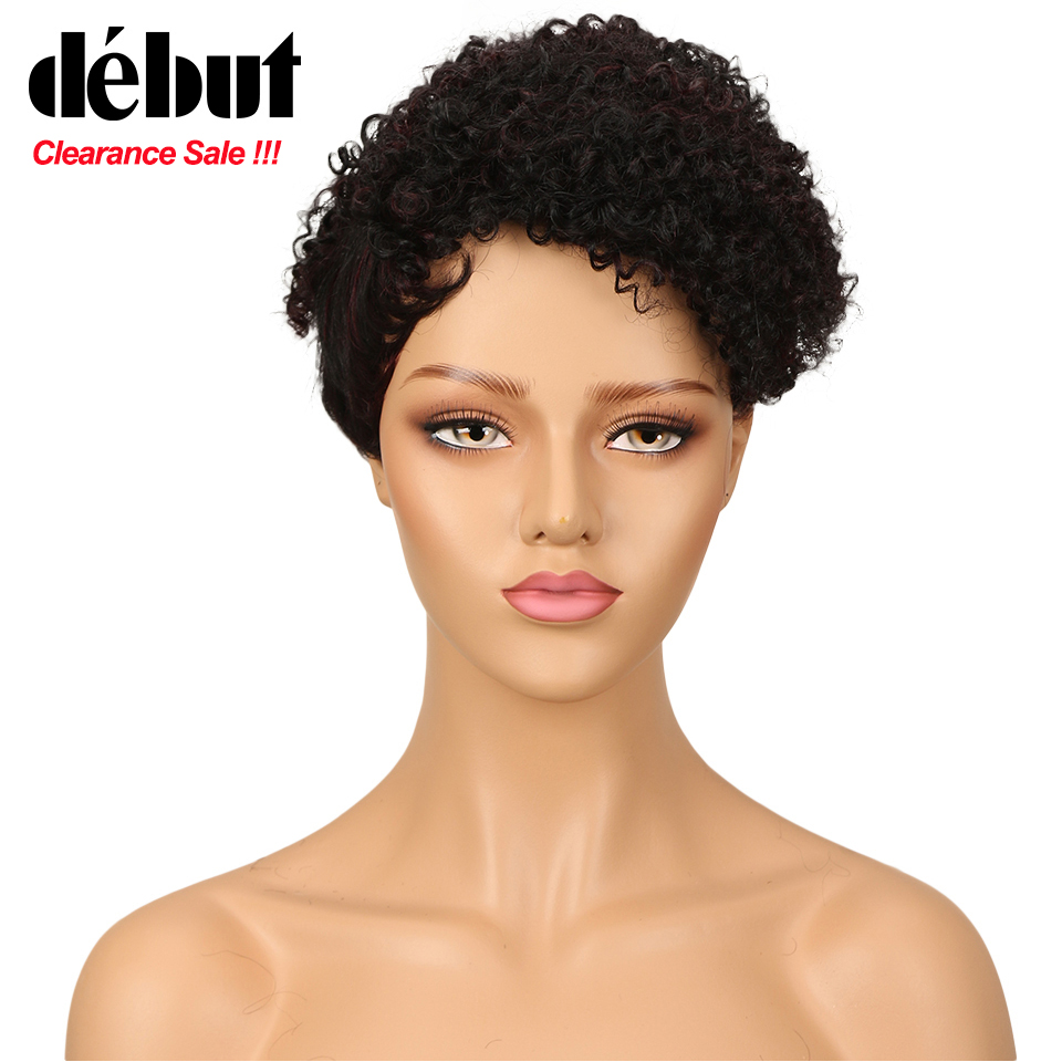 Debut Curly Human Hair Wigs Short Wigs For Black Women Afro Kinky Curl Machine Made Human Hair Wigs Natural Color Free Shipping