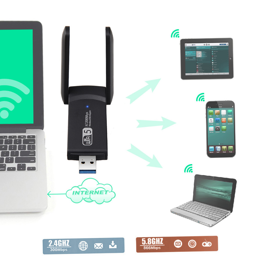 Adaptador usb wi-fi, 1200mbps, 5 peças, placa