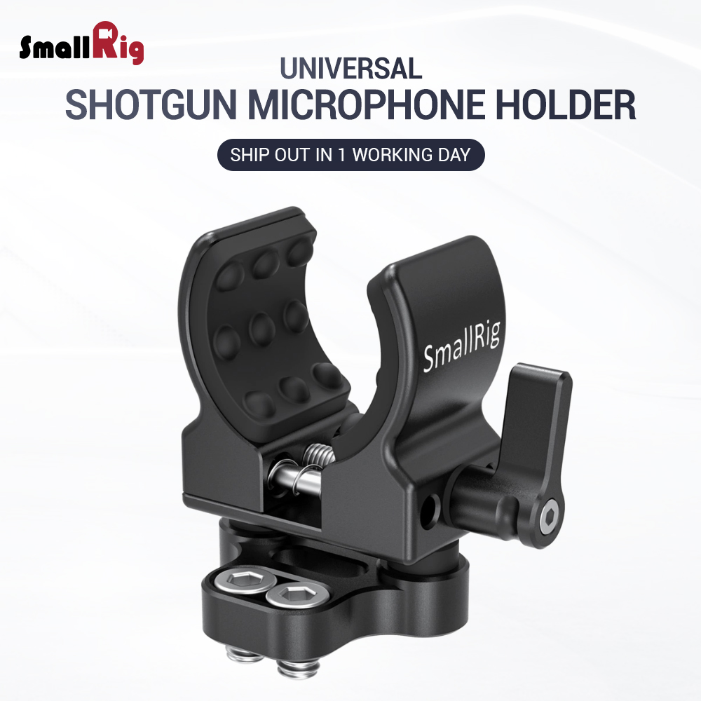 "SmallRig DSLR Camera Video Rig Shotgun Microphone Holder (1/4""-20 Screw) For Vlog Vlogging Accessory Clamp  2489"