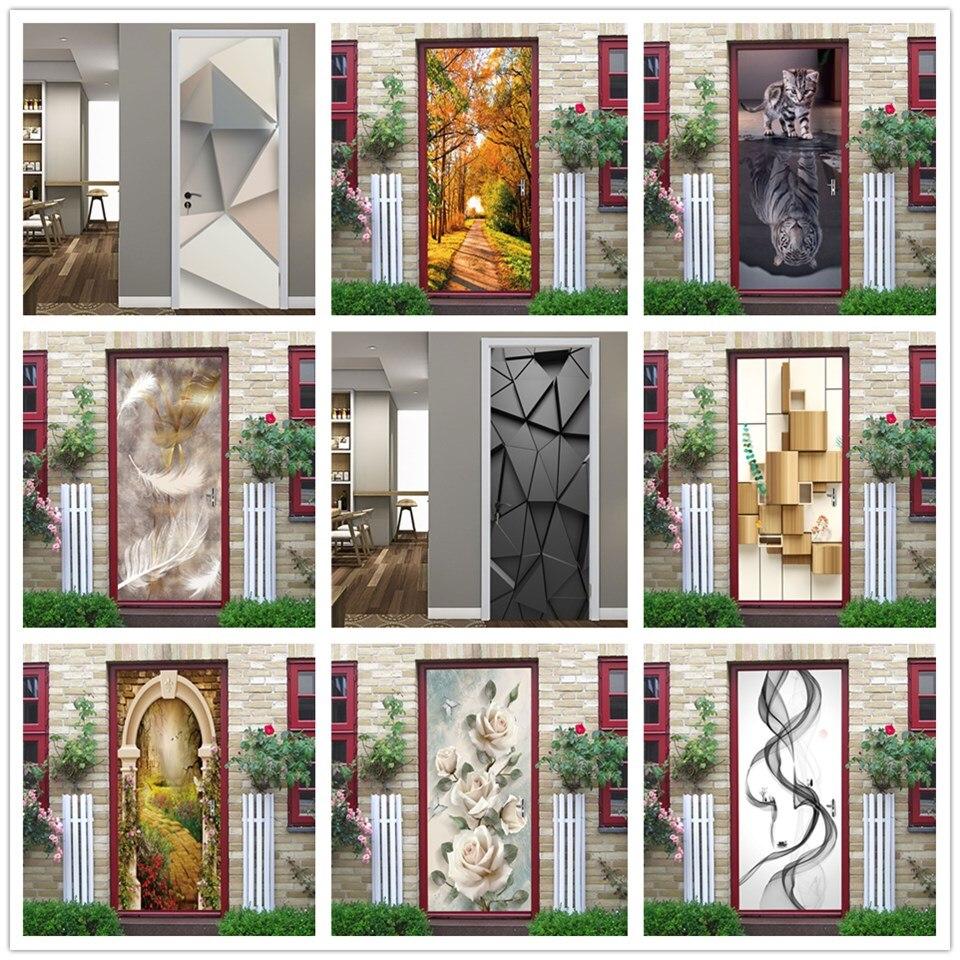 3D Black Geometric Door Wallpaper Murals DIY Self-adhesive Waterproof Removable Poster Art Mural Decal Home Decor Stickers Porte