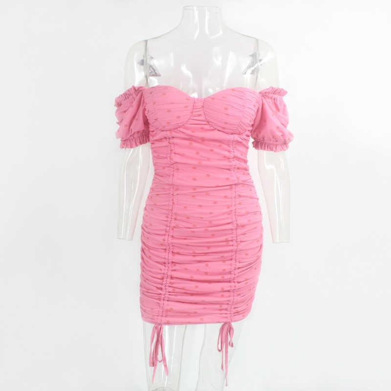 Justchicc 핑크 Ruched 여름 드레스 여성 섹시 어깨 파티 클럽 미니 드레스 여성 Strapless 우아한 Bodycon 드레스 2020