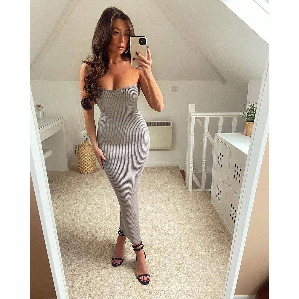 2021 las nuevas mujeres de vestido top de tubo sin mangas vestido de moda elegante Sexy elegante dama largo Mujer Vestidos