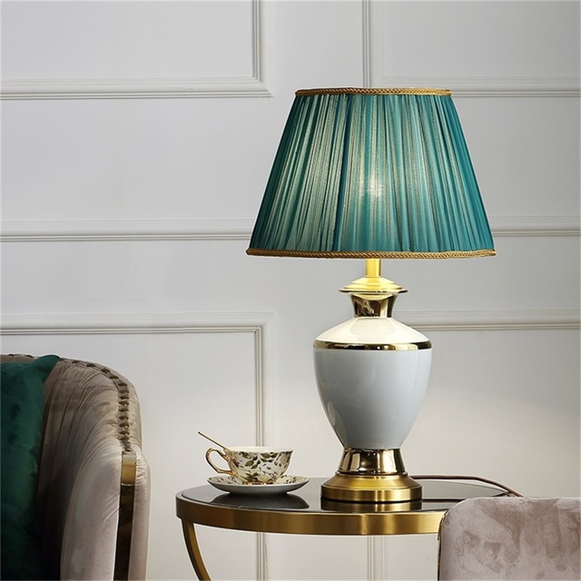 Фото керамические настольные лампы oufula латунный настольный светильник