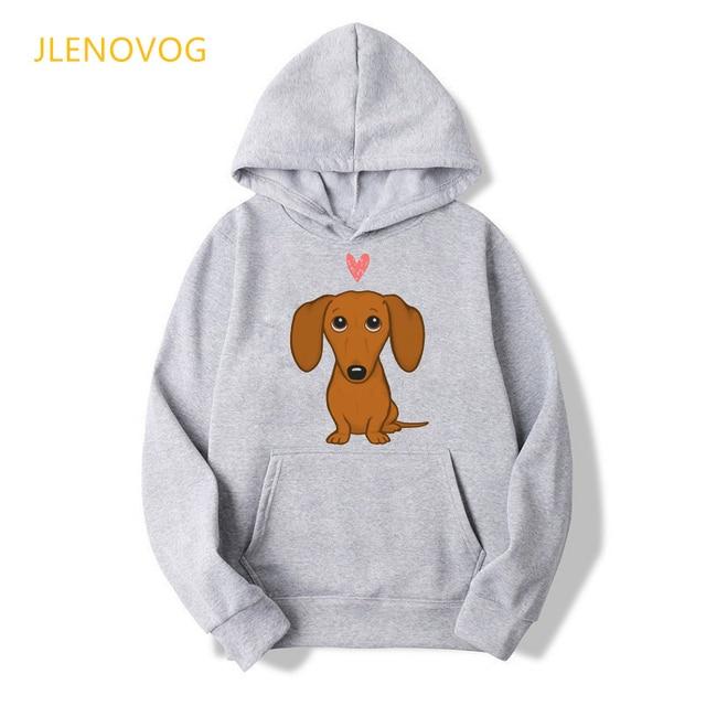Cute Dachshund Dog Love Cartoon Print Hoodies Women Clothes 2021 Funny Vogue Sweatshirt Femme Harajuku Kawaii Winter Tracksuit 4