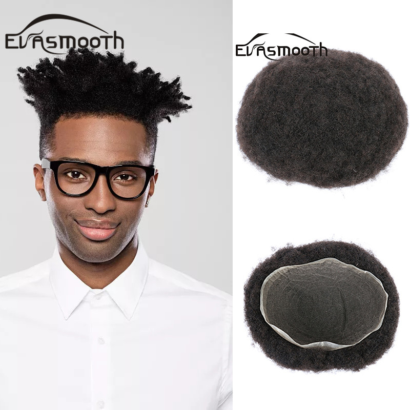 Afro Curly Hair Unit For Black Men Toupee Afro Wigs Black Men Swiss Lace Wig Hair Replacement System Raw Hair Men Afro Hairpiece