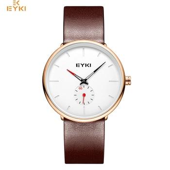 EYKI Brand Simple Men Genuine Leather Quartz Watches Lover's Woman Big Dial Sport Wrist Watch
