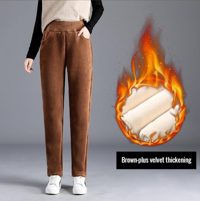 Large size plush thick casual pants ladies corduroy warm pants autumn and winter new high waist harem pants women trousers