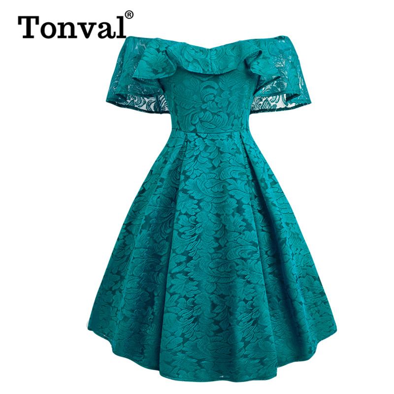 Tonval Vintage Turquoise Floral <font><b>Lace</b></font> Ruffle <font><b>Dress</b></font> Off Shoulder <font><b>Sexy</b></font> <font><b>Women</b></font> Party Night Fit and Flare <font><b>Elegant</b></font> <font><b>Dresses</b></font> image