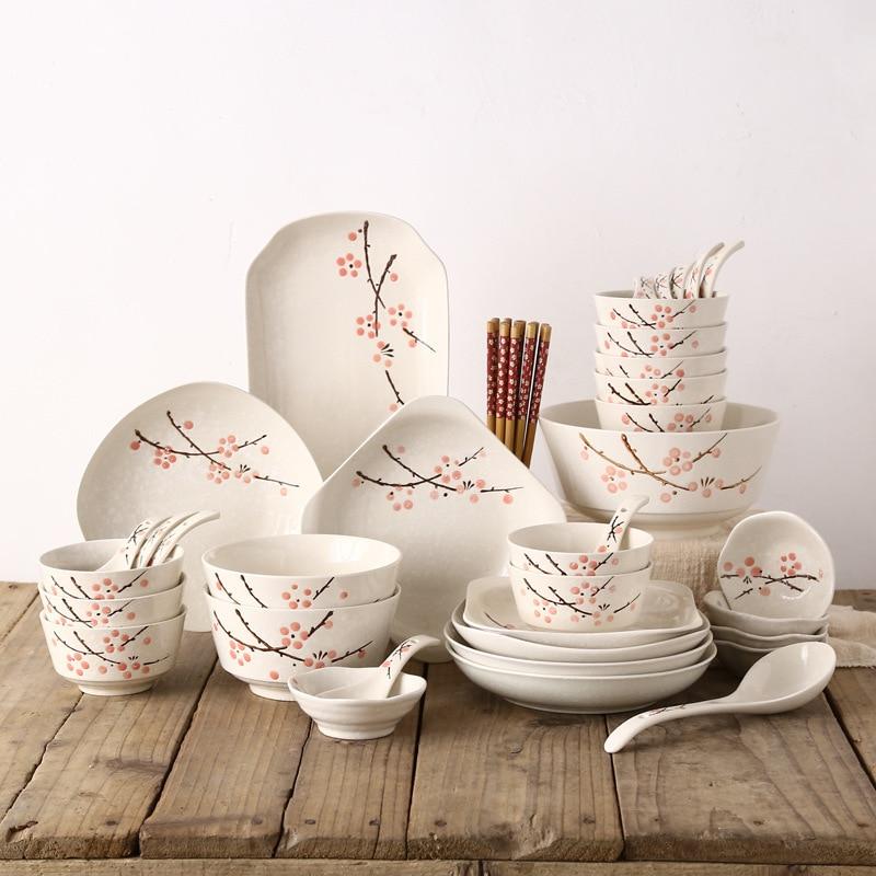 Estilo japonês Jogo de jantar Tigela/prato/prato/chopsticks/colher 46 Talheres pcs Set Reutilizável cerâmica com Pauzinhos de madeira - 5