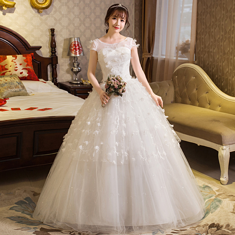 New Style Wedding Dress Bride Lace Up Plus Size Wedding Dresss Ball Gowns Flower Bridal Dresses