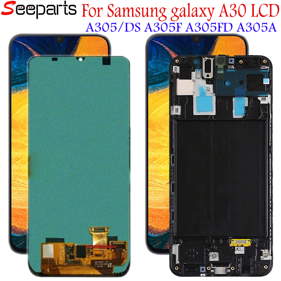 Super AMOLED For <font><b>Samsung</b></font> <font><b>galaxy</b></font> <font><b>A30</b></font> <font><b>lcd</b></font> 2019 Touch Screen Digitizer Assembly A305/DS A305F A305FD A305A SM-A305F/DS with frame image