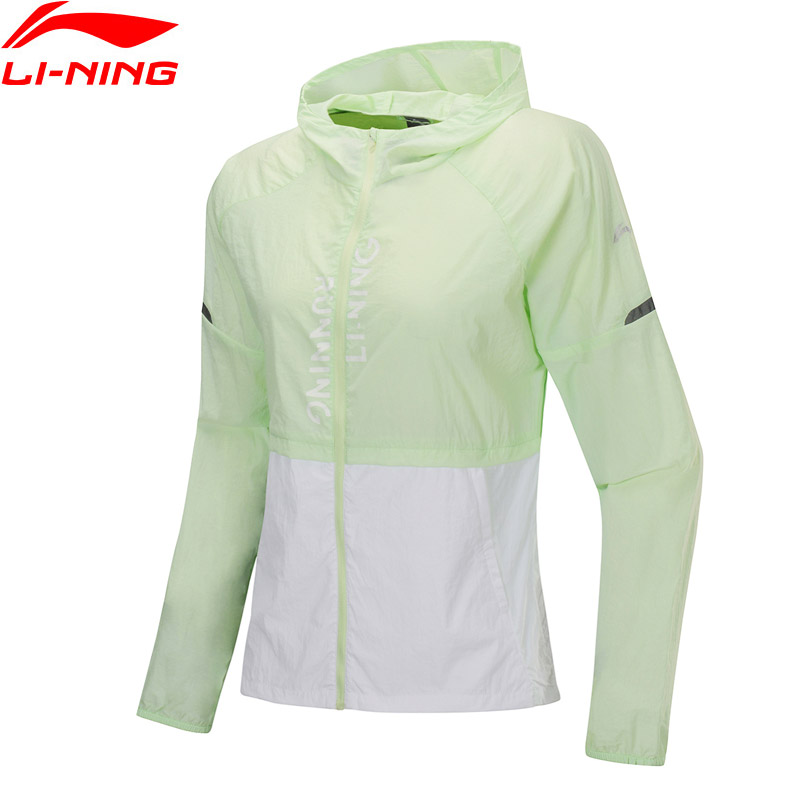 Li-Ning Women Running Series Windbreaker Loose Fit 100% Nylon Anti UV Sport Coats Li Ning LiNing Hooded Jackets AFDP204 WWF928