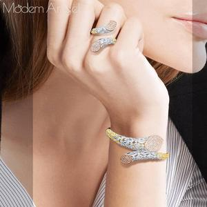 Image 3 - ModemAngel Luxury Brand Super AAA Cubic Zirconia Copper Bangle Ring Set Dress Engagement Party Wedding Bridal Jewelry For Women