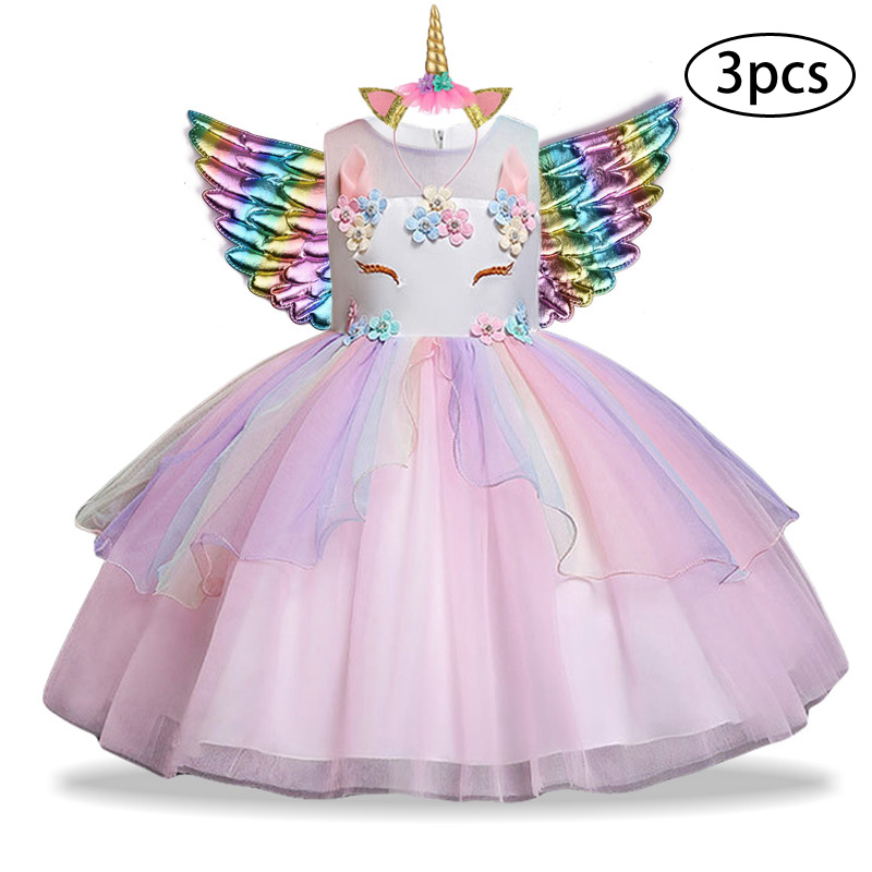 H870ab54e752244fdb690a622c55fb654s New Girls Dress 3Pcs Kids Dresses For Girl Unicorn Party Dress Christmas Carnival Costume Child Princess Dress 3 5 6 8 9 10 Year