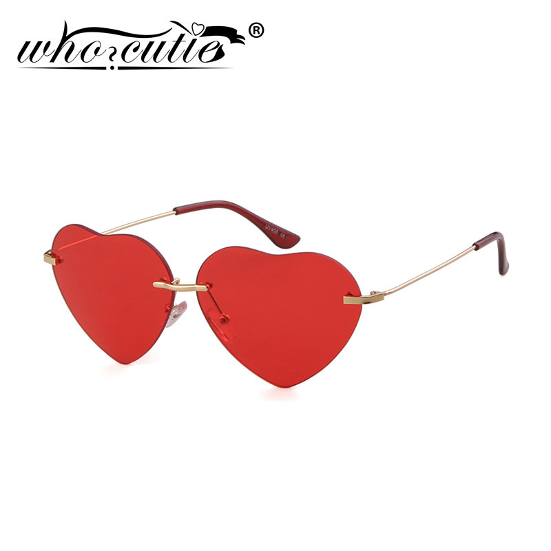 WHO CUTIE Fashion Red Heart Shaped Rimless Sunglasses Women 2020 Brand Design Frameless Cat Eye Sun Glasses Shades Female S376