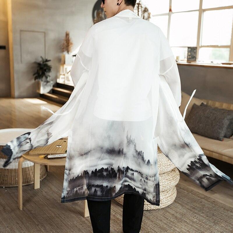 2019 Kimono Japanese Kimono Mujer Men Clothing Yukata Men Chinese Style Printing Japanese Streetwear Mens Kimono Jacket Robe
