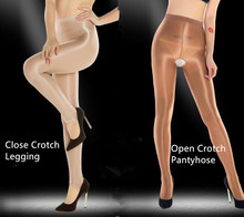 2 Pairs Women Sexy Dance Tights Shaping Oil Socks Shiny Silky Sheer Pantyhose Nude Coffee Open Crotch 70D Stocking  Hot Sell