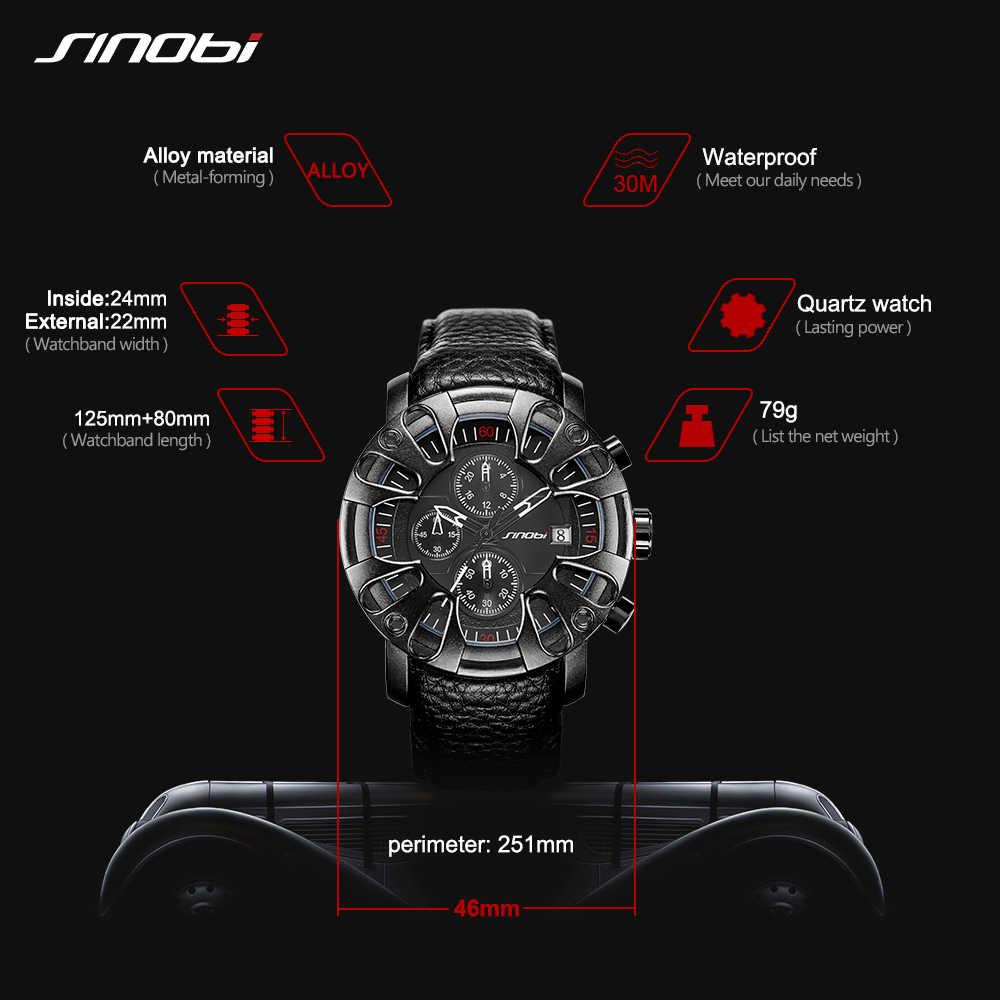 SINOBI تصميم جديد الإبداعية سيارة جلدية ساعات رياضية للرجال الكوارتز المعصم كرونوغراف الساعات العسكرية relogio masculino