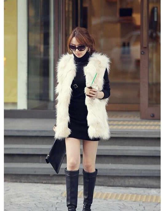Норковый женский жилет из искусственного меха 2020 элегантный роскошный халат женский зимний длинный жилет из лисьего меха женская винтажная рабочая одежда меховой жилет R19