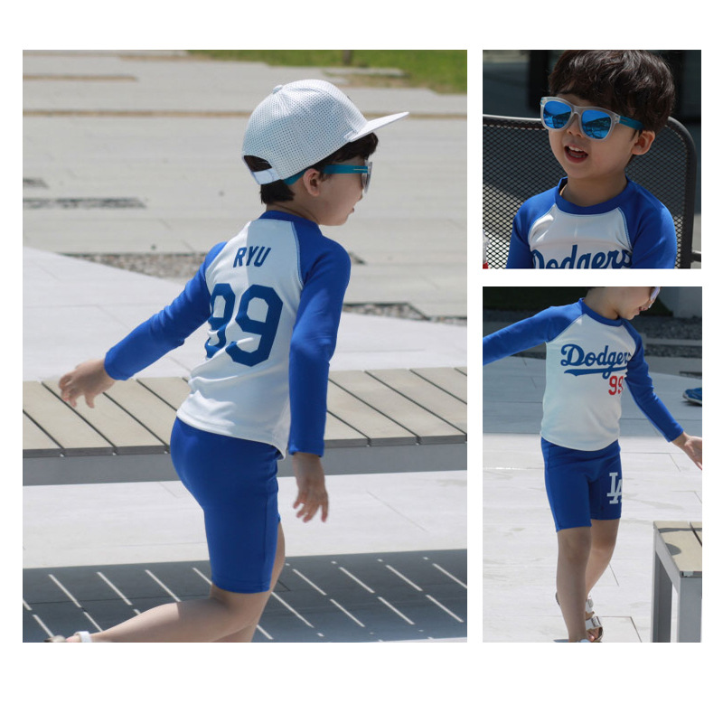 Split Type Swimsuit BOY'S Baby CHILDREN'S Swimwear South Korea Big Boy Chinlon Sun-resistant Quick-Dry AussieBum Case