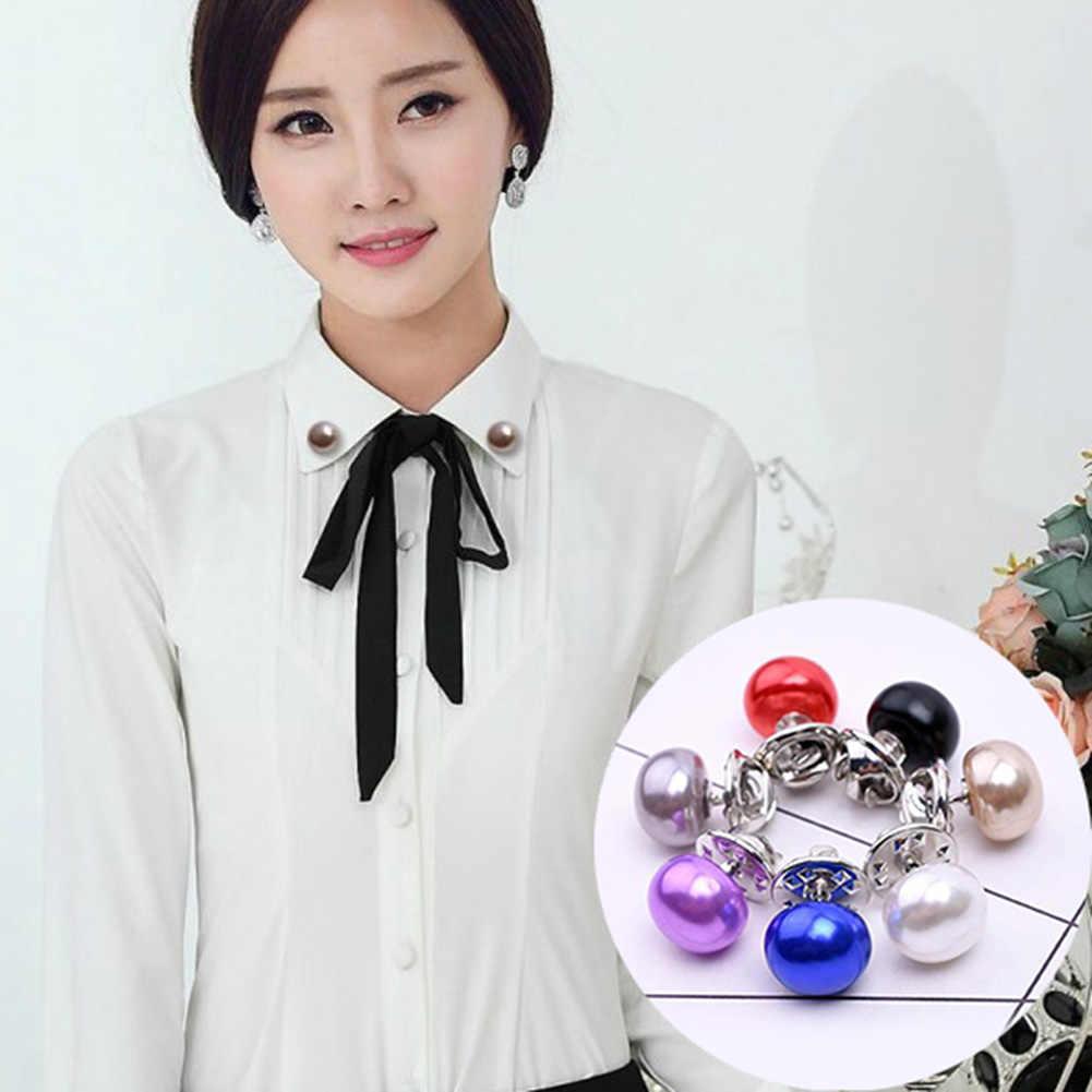 ホット販売クラシックエレガントな女性ジュエリー模造真珠の襟カーディガンショールバックル DIY スカーフブローチピンカーディガンショールバックル