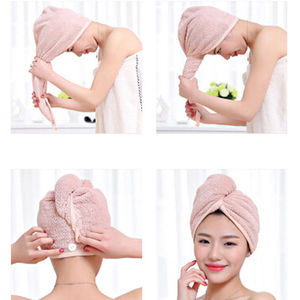 Super Absorbent Hair Fast Drying Towel Coral Velvet Turban Bath Towels Adults Cap Bathrobe Hat Head Hand Wraps