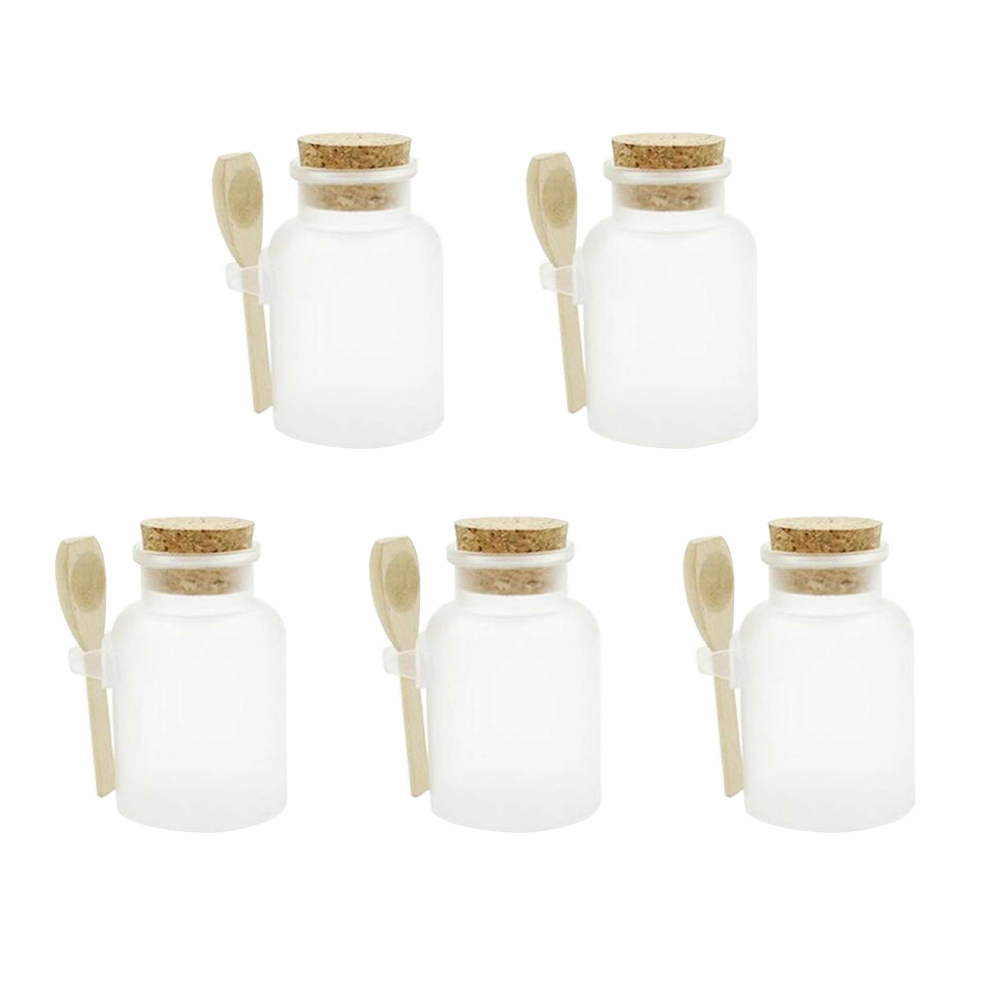 5pcs 100g Empty Bath Salt Bottles Refillable Empty Makeup Jar ABS Round Bottle Containers With Cork Stoppers Wood Spoon