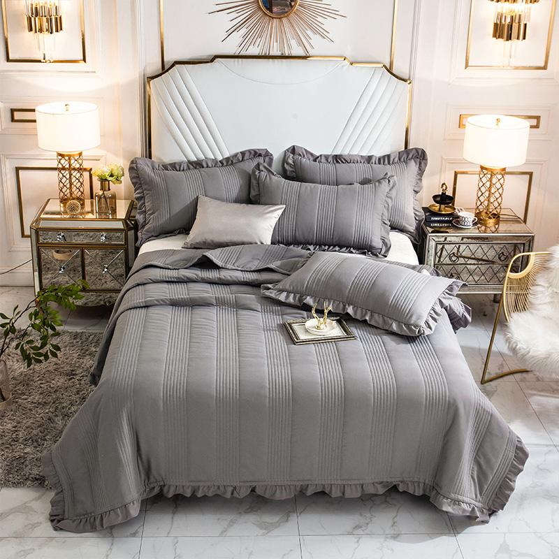 Gray White Soft 100 Washed Cotton Ruffle Bedspread Coverlet Bed Cover Set Blanket Summer Quilt Bed