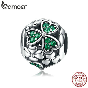 BAMOER Authentic 925 Sterling Silver Shamrock Flower Green Crystal Beads Charm fit Charm Bracelet Necklace Jewelry Making SCC964 фото