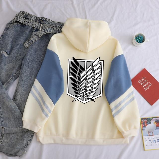 Attack on Titan Shield Printed Hoodies Autumn Winter Fleece Casual Spell Color Splicing Sweatshirt Loose Harajuku Kawaii Clothes 5