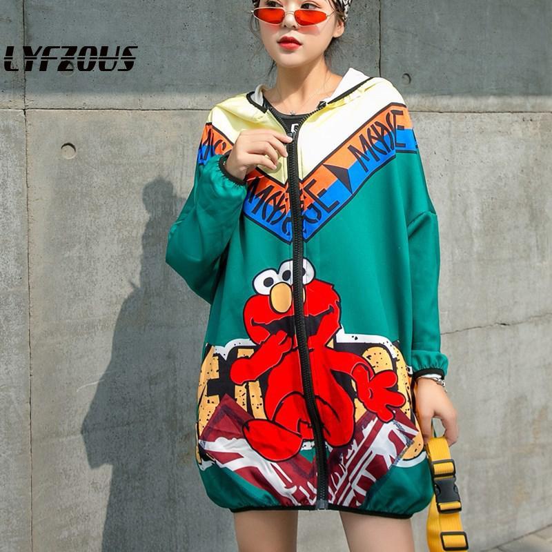 Cartoon Print Women Jacket Streetwear Long Hooded Jacket Coat Spring Autumn Tops Loose Baseball Jackets Zipper Long Sleeve Coats
