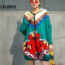 Cartoon Print Women Jacket Streetwear Long Hooded Jacket Coa
