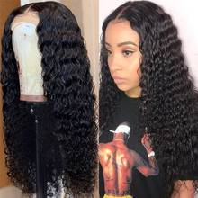34 Inches Deep Wave Lace Frontal Wig 250% 13x4 Lace Front Wig Indian Virgin Transparent