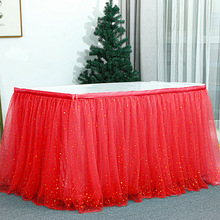 Birthday Banquet Party Star Sequin Decoration Gauze Table Skirt  party decorations table skirting  tulle green red