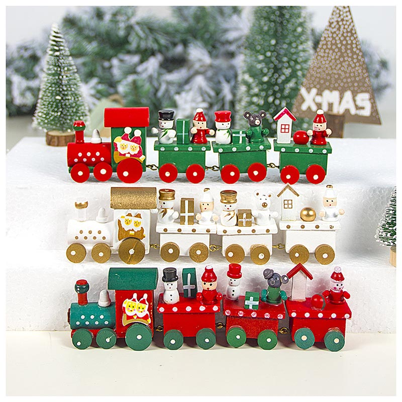 Wood Cars New Christmas Train Mini Car Toy  Christmas With Santa/ Xmas Gift For Kids Action Figure Toys Vehicle New Year Gift