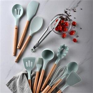 Image 4 - 12pcs Kitchen Utensil Set Silicone Cooking Tools Set Household Wooden Koken Gereedschap Met Opbergdoos Turner Cooking Tool Sets