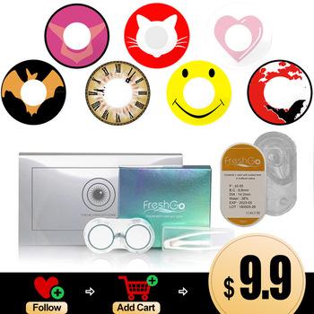 Kolorowe soczewki Anime Cosplay kolorowe soczewki kontaktowe wysokie pokrycie szkła okularowe ultra-cienki komfort oczu kontakty niebieskie soczewki różowe tanie i dobre opinie FreshGo CN (pochodzenie) 14 5 Dwa Kawałki 0 06-0 15mm PHEMA Piękne Uczeń Colored lenses CE FDA Color contact lenses