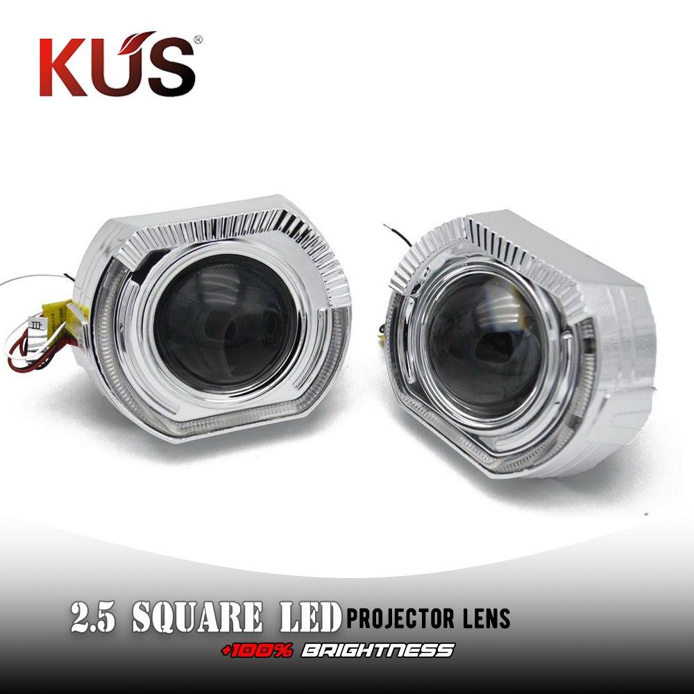 2 pièces 2.5 pouces Mini projecteur lentille LED lumières de course ange yeux DRL pour phares H4 H7 voiture rénovation phare lentille modification