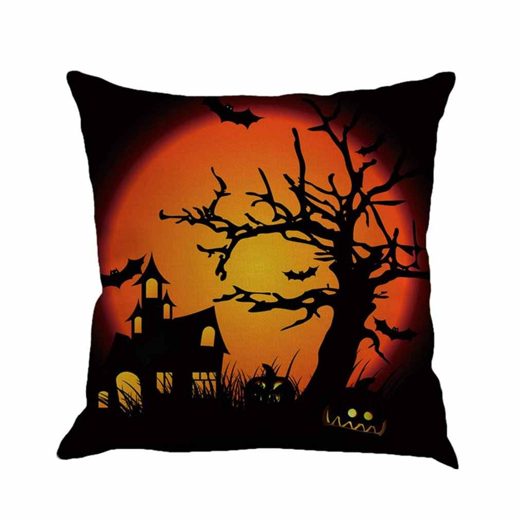 4 Patterns Halloween Cotton Linen Fabric Cushion Covers Digital Printed Home Decorative Square Pillowcase 45*45cm Drop Shipping