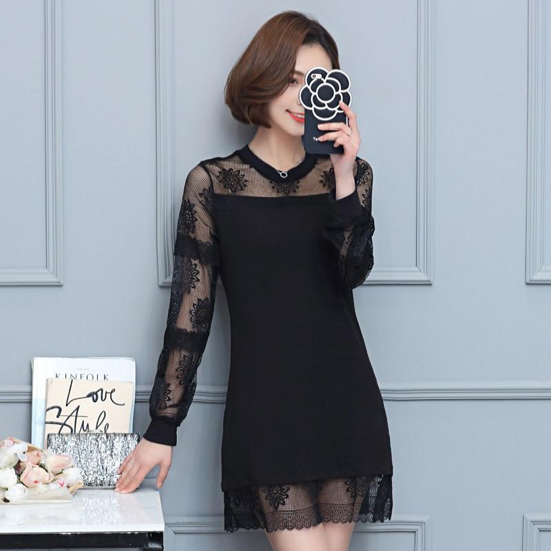 Printemps femmes robes noires dentelle Crochet Patchwork une pièce à manches longues col rond fond Mini robe droite femme 2020