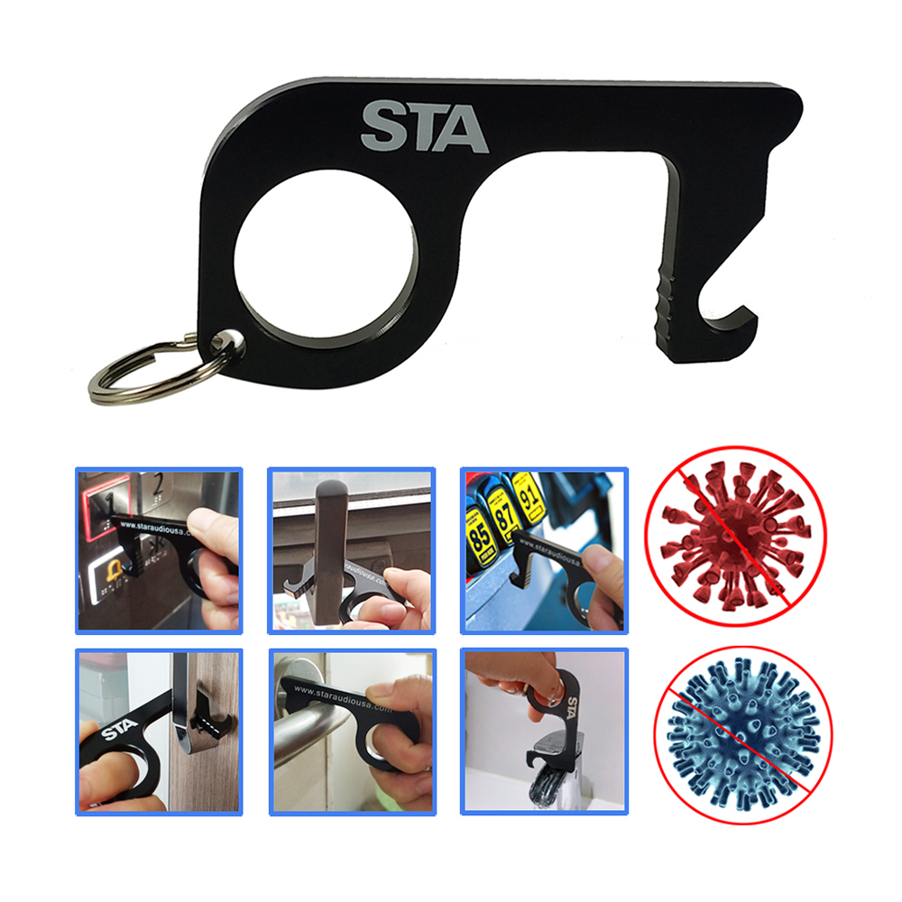 STA Touchless Keychain Tool Door Opener Key Handle Bracket For Elevator,Door Opening And Closing,Sinks,Gas Stations,Toilets.