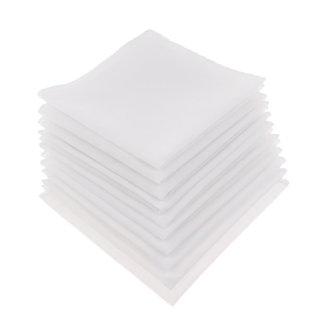 10pcs Mens White Handkerchiefs 100% Cotton Square Super Soft Washable Hanky Solid Pure White Handkerchief For Men Women